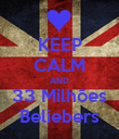 KEEP CALM AND 33 Milhões Beliebers - Personalised Poster large