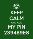 KEEP CALM AND ADD MY PIN 2394B9E8 - Personalised Poster large