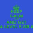 KEEP CALM AND AND GET A LEVEL 5 OR 4 - Personalised Poster large
