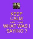 KEEP CALM AND .... AND WHAT WAS I SAYING ? - Personalised Poster large