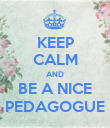 KEEP CALM AND BE A NICE PEDAGOGUE - Personalised Poster small