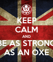 KEEP CALM AND BE AS STRONG AS AN OXE - Personalised Poster large