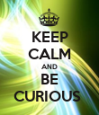 KEEP CALM AND BE CURIOUS  - Personalised Poster large