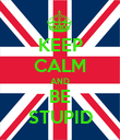 KEEP CALM AND BE STUPID - Personalised Poster large