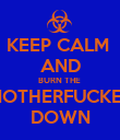 KEEP CALM  AND BURN THE  MOTHERFUCKER DOWN - Personalised Poster large