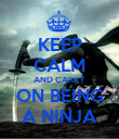 KEEP CALM AND CARRY ON BEING A NINJA - Personalised Poster large