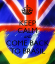 KEEP CALM AND COME BACK TO BRASIL - Personalised Poster large