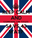 KEEP CALM AND COMPARE THE TITLES 54 VS 43 WATP - Personalised Poster large