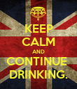 KEEP CALM AND CONTINUE  DRINKING. - Personalised Poster large