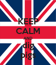 KEEP CALM AND dig pigs - Personalised Poster large