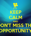 KEEP CALM AND DON'T MISS THE OPPORTUNITY - Personalised Poster large
