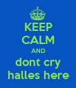 KEEP CALM AND dont cry halles here - Personalised Poster large