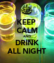 KEEP  CALM AND DRINK ALL NIGHT - Personalised Poster large