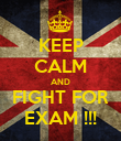 KEEP CALM AND FIGHT FOR EXAM !!! - Personalised Poster large
