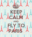 KEEP CALM AND FLY TO PARIS  - Personalised Poster large