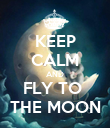 KEEP CALM AND FLY TO  THE MOON - Personalised Poster large