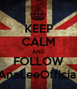 KEEP CALM AND FOLLOW AnaLeeOfficial - Personalised Poster large