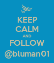 KEEP CALM AND FOLLOW @bluman01 - Personalised Poster large