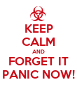 KEEP CALM AND FORGET IT PANIC NOW! - Personalised Poster large