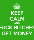 KEEP CALM AND FUCK BITCHES GET MONEY - Personalised Poster large