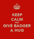 KEEP CALM AND GIVE BADGER A HUG - Personalised Large Wall Decal