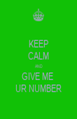 KEEP CALM AND GIVE ME  UR NUMBER - Personalised Poster large