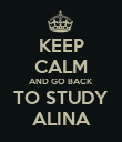 KEEP CALM AND GO BACK TO STUDY ALINA - Personalised Poster large