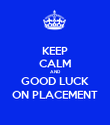 KEEP CALM AND GOOD LUCK ON PLACEMENT - Personalised Poster large