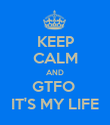 KEEP CALM AND GTFO  IT'S MY LIFE - Personalised Poster large