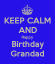 KEEP CALM AND Happy  Birthday Grandad - Personalised Poster large