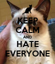 KEEP CALM AND HATE EVERYONE - Personalised Poster large