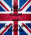 KEEP CALM AND HATE STUPID PEOPLE - Personalised Poster large