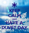 KEEP CALM AND HAVE A DUVET DAY - Personalised Poster large