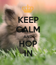KEEP CALM AND HOP IN - Personalised Poster large