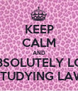KEEP CALM AND I ABSOLUTELY LOVE STUDYING LAW - Personalised Poster large
