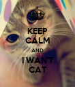 KEEP CALM AND I WAN'T CAT - Personalised Poster large