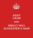 KEEP CALM AND INSULT WILL SCHUESTER'S HAIR - Personalised Poster large