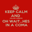 KEEP CALM AND  JULIAN LARSON OH WAIT...HES  IN A COMA - Personalised Poster large