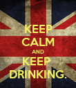 KEEP CALM AND KEEP  DRINKING. - Personalised Poster large