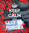 KEEP CALM AND LEST WE FORGET - Personalised Poster large