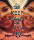 KEEP CALM AND LIKE A PIG - Personalised Poster large