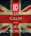 KEEP CALM AND LIKE ONE DIRECTION PERFECTION - Personalised Poster large