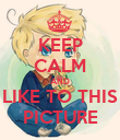 KEEP CALM AND LIKE TO THIS PICTURE - Personalised Poster large