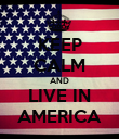 KEEP CALM AND LIVE IN AMERICA - Personalised Poster large