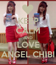 KEEP CALM AND LOVE ANGEL CHIBI - Personalised Poster large