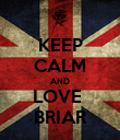 KEEP CALM AND LOVE  BRIAR - Personalised Poster large