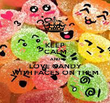 KEEP CALM AND LOVE CANDY WITH FACES ON THEM - Personalised Poster large