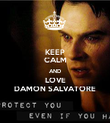 KEEP CALM AND LOVE DAMON SALVATORE - Personalised Poster large
