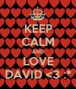 KEEP CALM AND LOVE DAVID <3 :* - Personalised Poster large