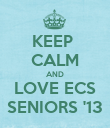 KEEP  CALM AND LOVE ECS SENIORS '13 - Personalised Poster large